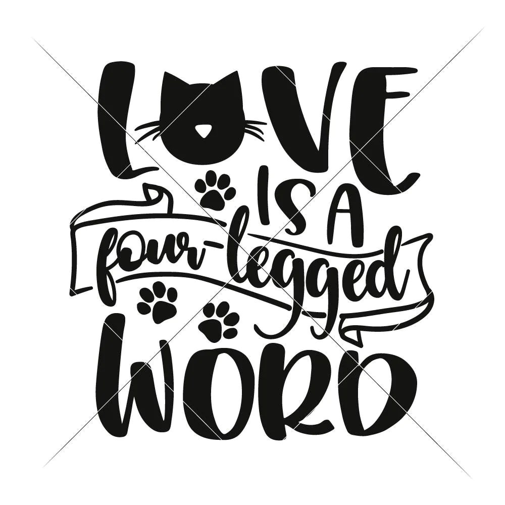 Download Love is a four legged Word Cat svg png dxf eps | Chameleon ...