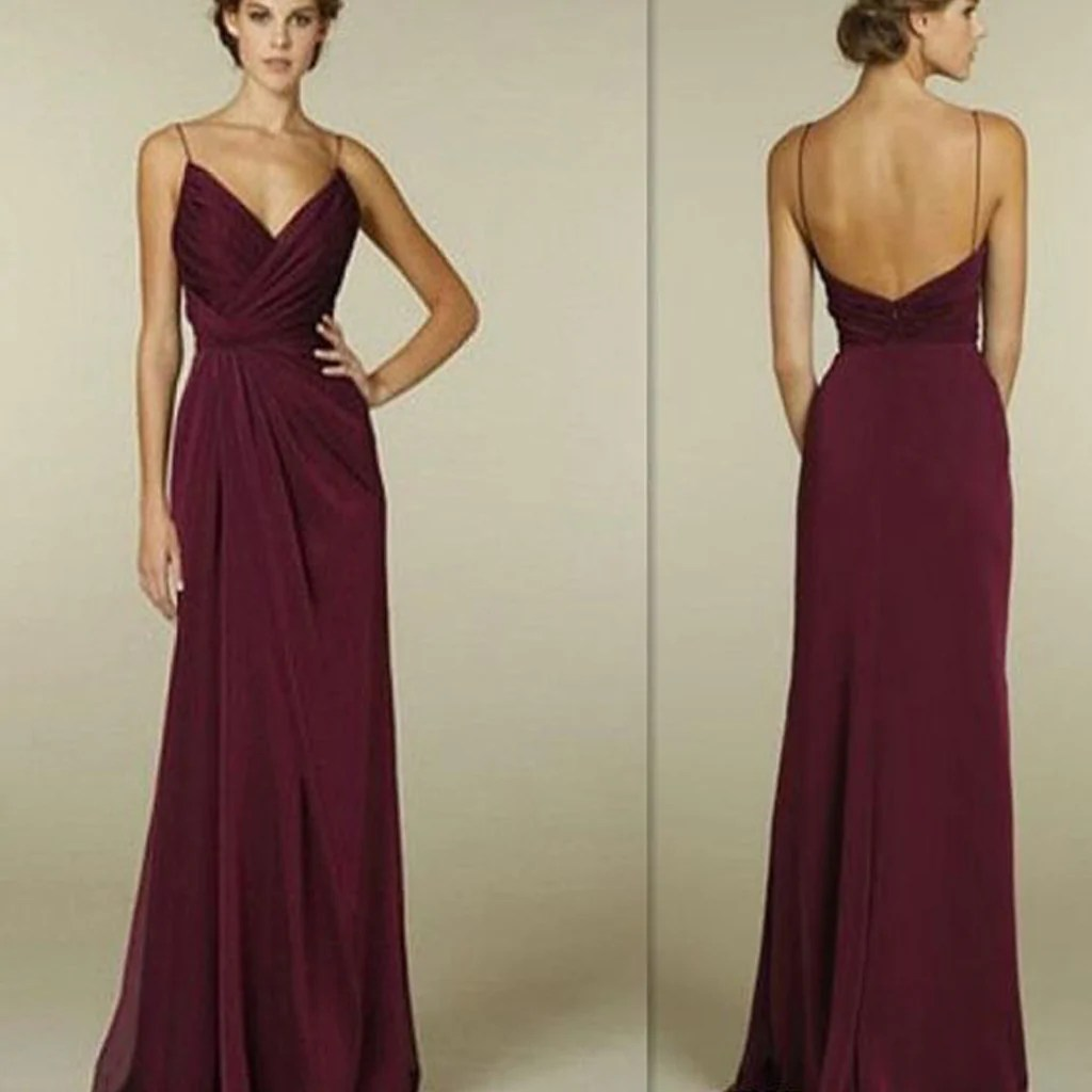 Long Burgundy Bridesmaid Dresses with Straps