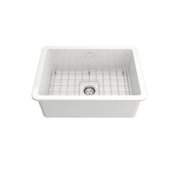 bocchi sotto 27 white fireclay single undermount kitchen sink w grid