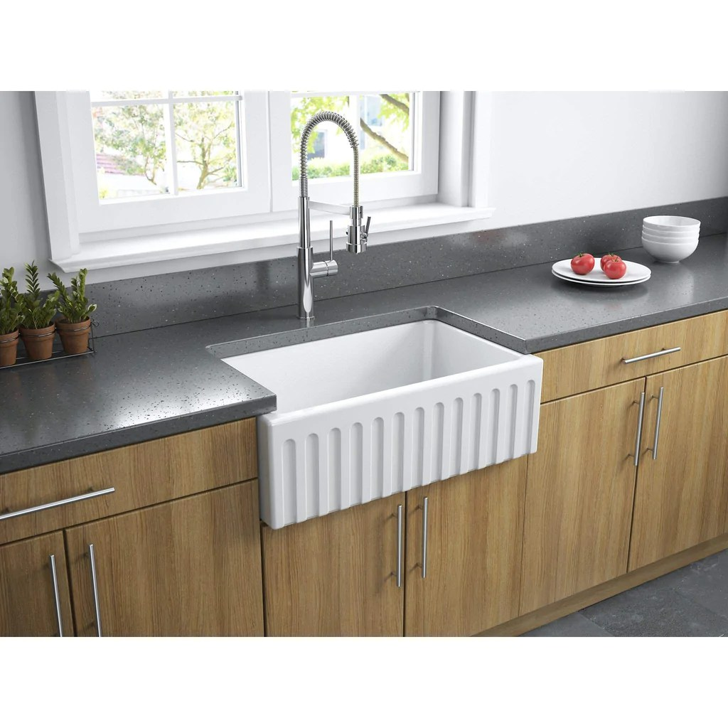 latoscana 30 white reversible smooth or fluted fireclay farmhouse sink