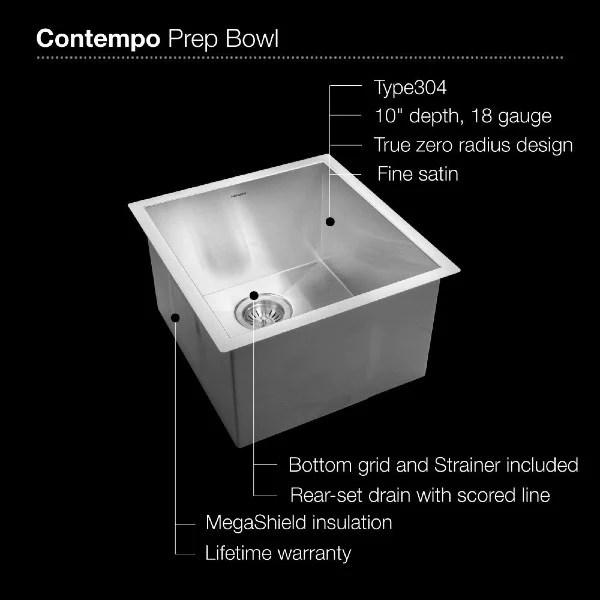 houzer ctr 1700 17 stainless steel zero radius undermount prep sink