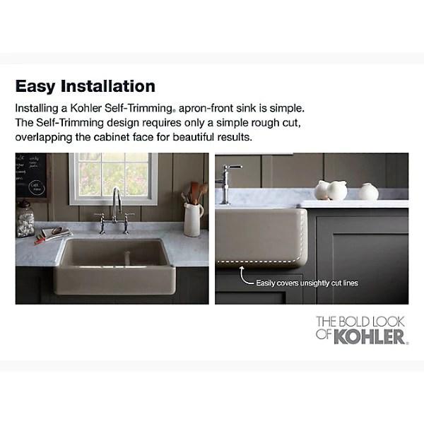 kohler whitehaven k 6489 0 35 white single bowl farmhouse sink w tall apron front