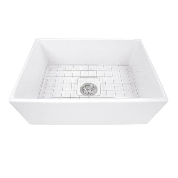 nantucket t fcfs27 27 inch fireclay farmhouse sink white with grid