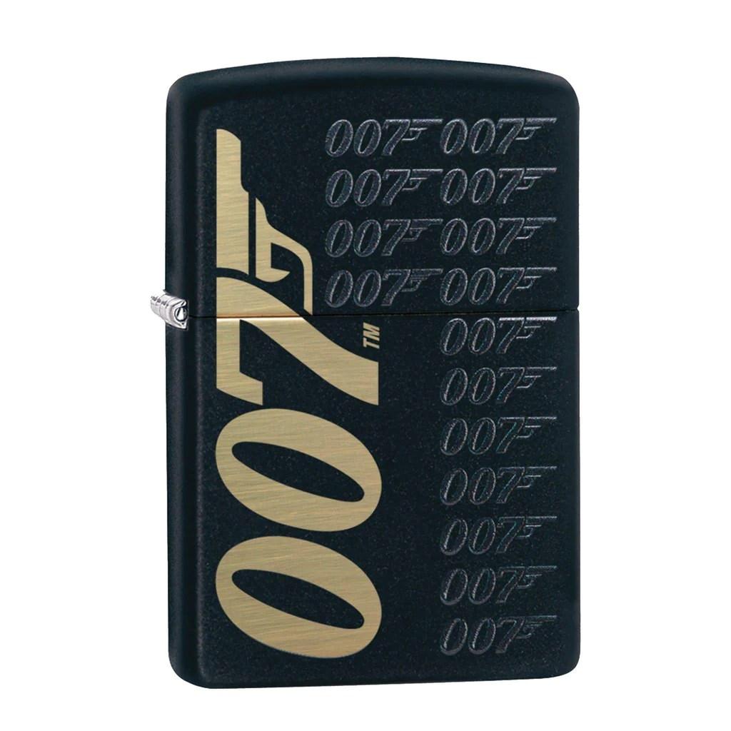 James Bond Zippo Lighter 007 Logo Pattern Black & Gold
