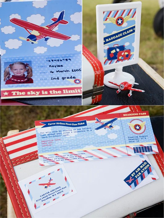 Little Aviator Airplane Birthday Party Printables