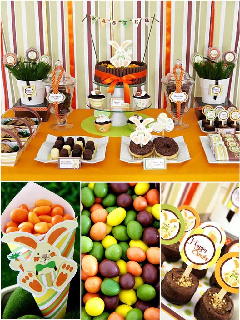 Easter Bunny Orange Party Printables Supplies  BirdsPartycom