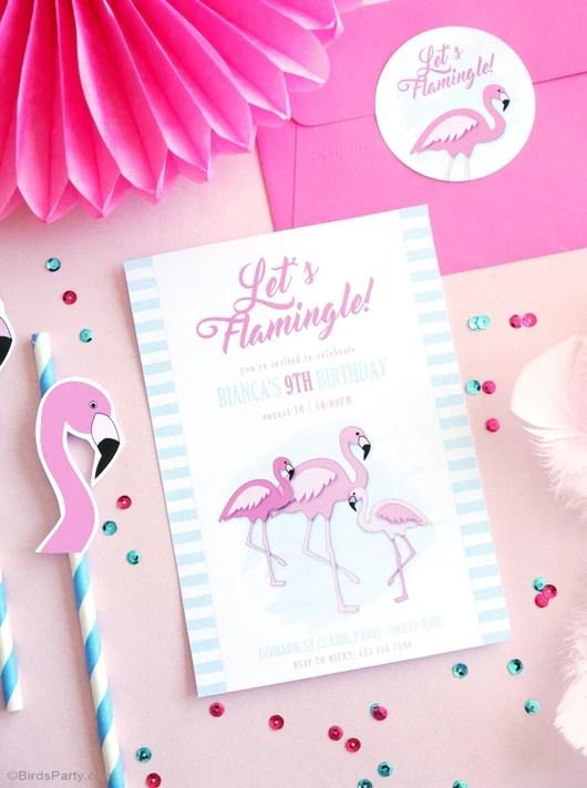 flamingo birthday party printable invitations