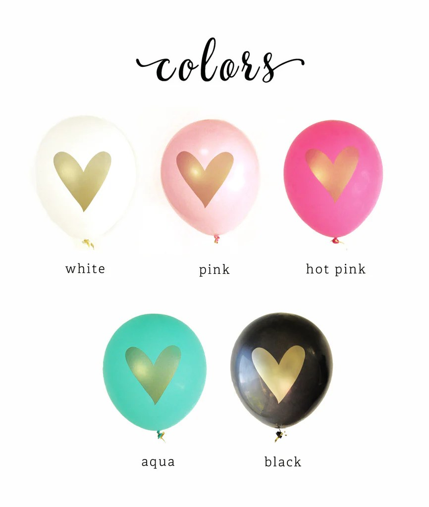 Gold Heart Party Balloons in Various Colors  BirdsPartycom