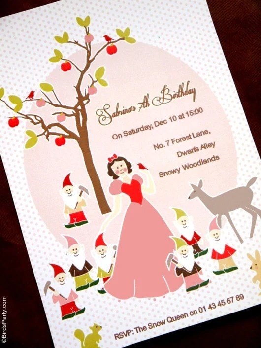 snow white birthday party printable invitations