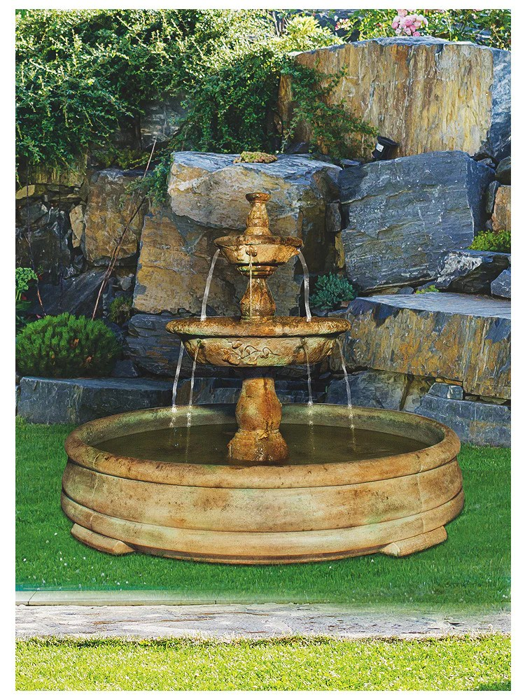Tazza Tier Outdoor Water Fountain In Grando Pool