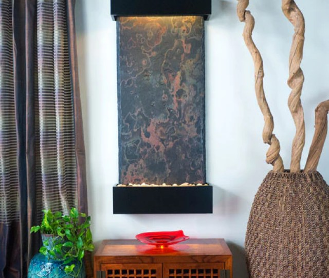 Large Nojoqui Falls Wall Fountain With Black Onyx Trim Soothing Walls