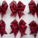 Red Buffalo Check Christmas Tree Bow Ornaments Set Of 12 Kate Said Yes Weddings