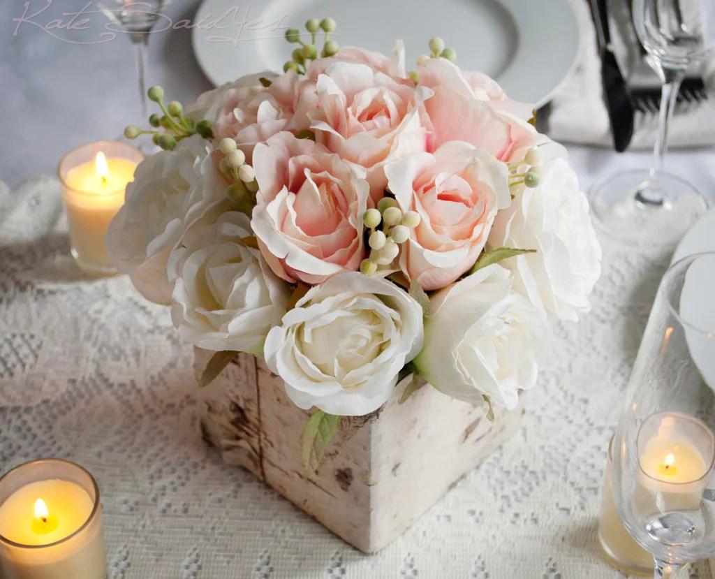 Wedding Centerpiece Rustic Blush And Ivory Rose Wedding