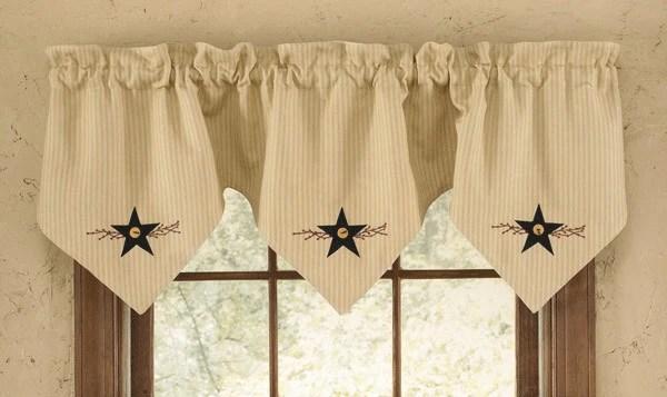 Country Curtain Triple Point Valance Star Vine primitive