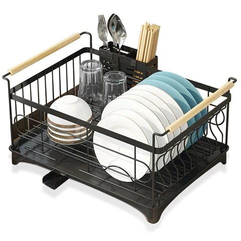 stainless steel large dish rack black