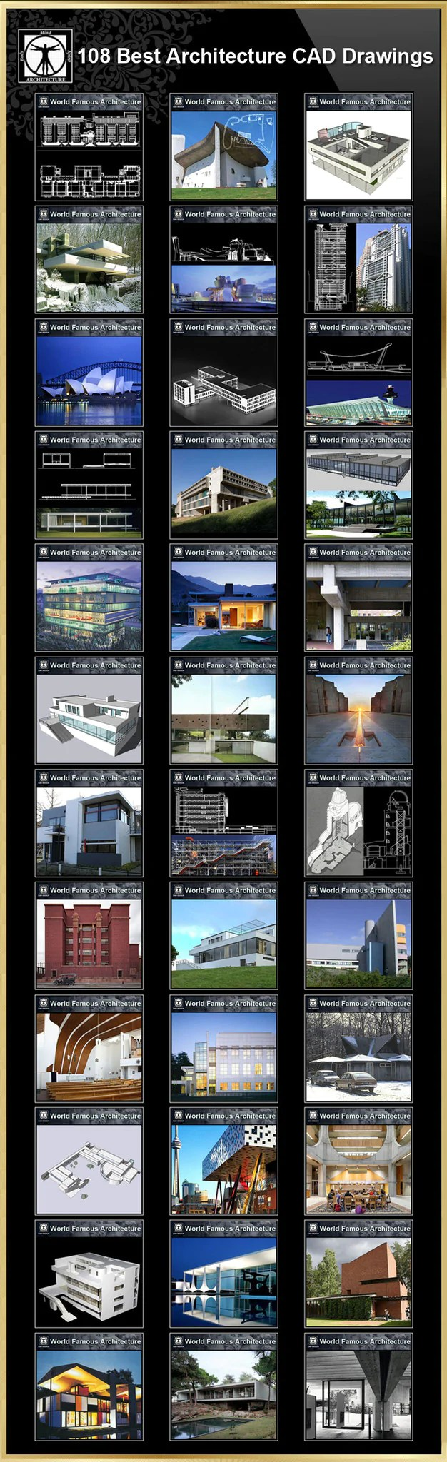 【108 Best Architecture CAD Drawings】(Best Collections!!)