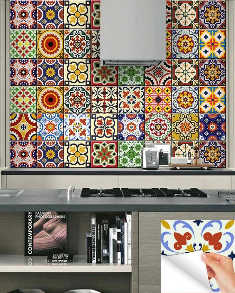 24 UNITS tile decals DIY Set of 24 vintage mural bathroom Decals stick  alegriam