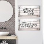 Bathroom Wall Art 2 Piece Hello Sweet Cheeks Wood Frame Ready To Han Sense Of Art