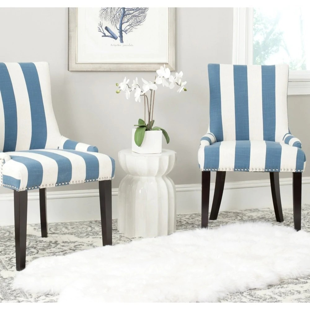 Blue And White Striped Chair Safavieh Mercer Collection Lester Dining Chair Blue And White Stripe Set Of 2