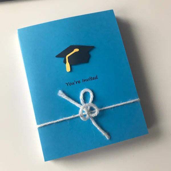 celestial blue graduation invitations