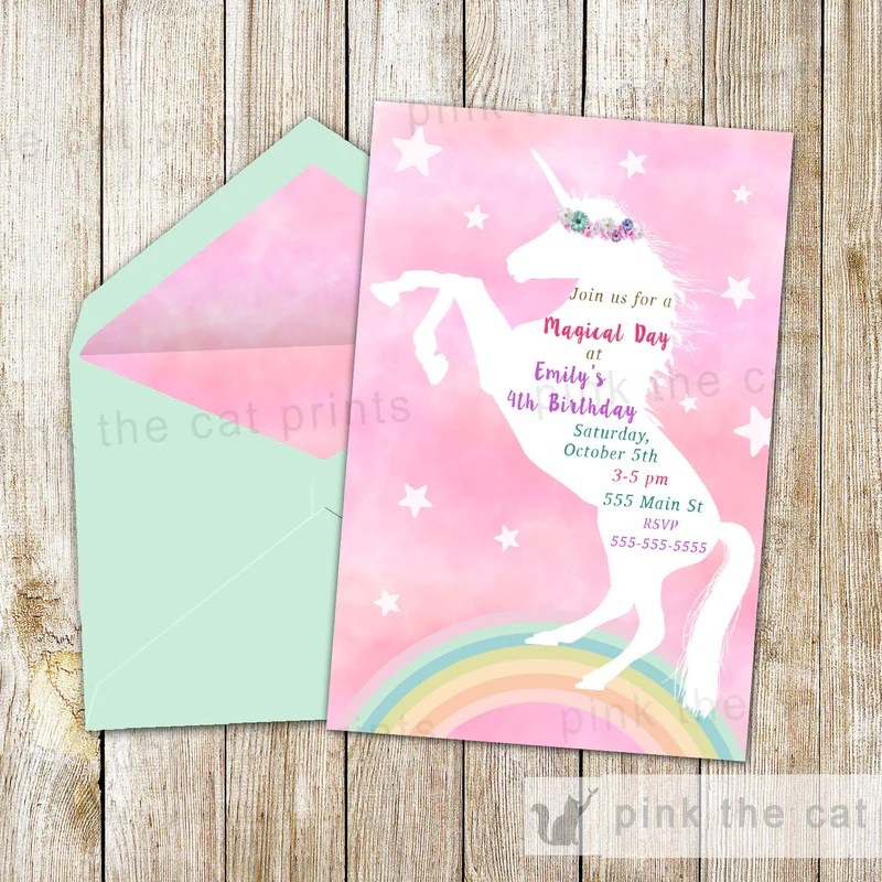 greeting cards party supply you print birthday or baby shower custom unicorn theme invitation personalized cursoparaoamordarcerto com br