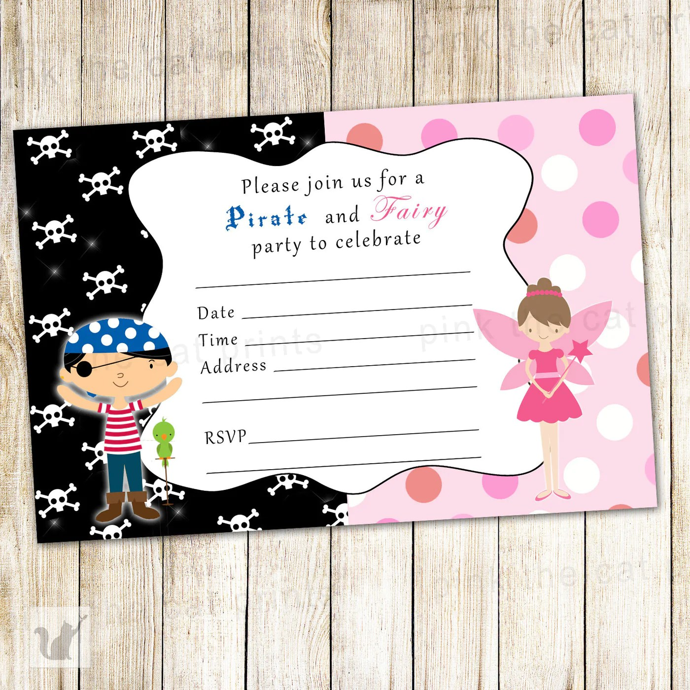 fairy pirate invitation fill in blank pixie kids birthday