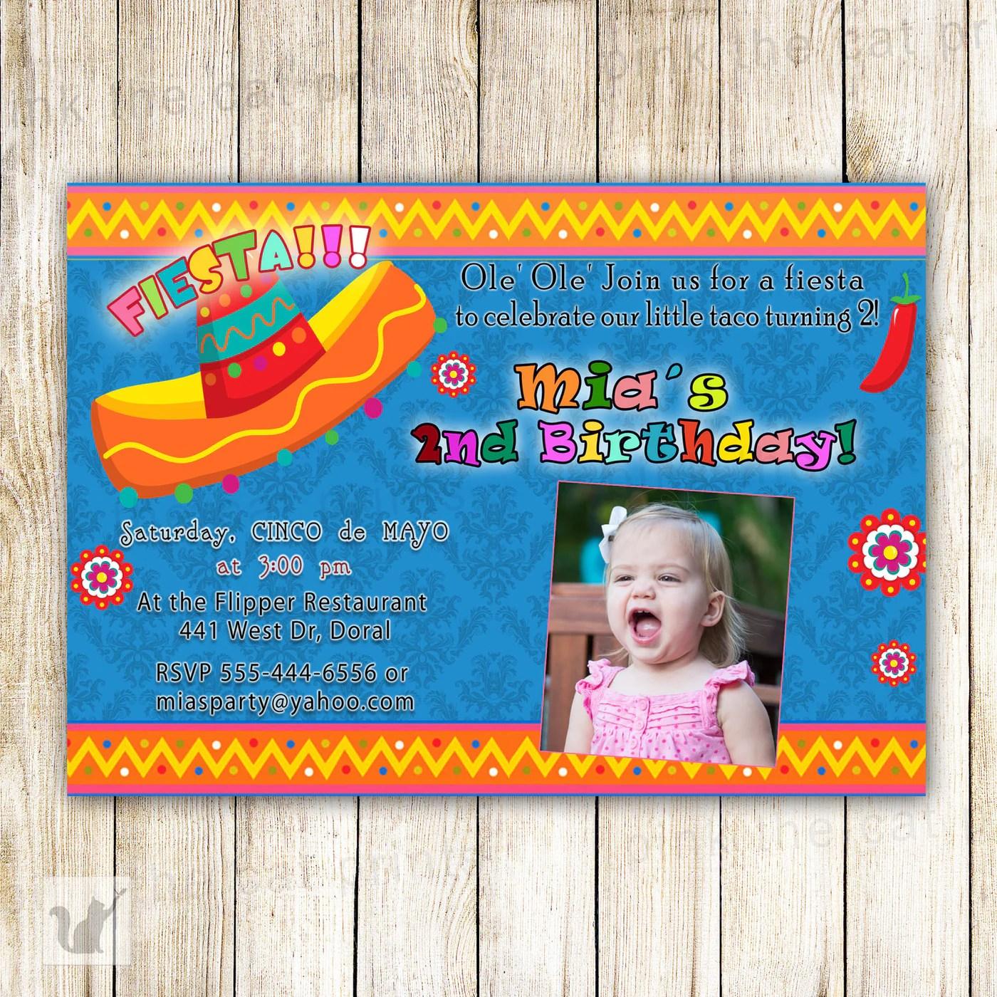 fiesta birthday invitation photo card kids boy girl blue