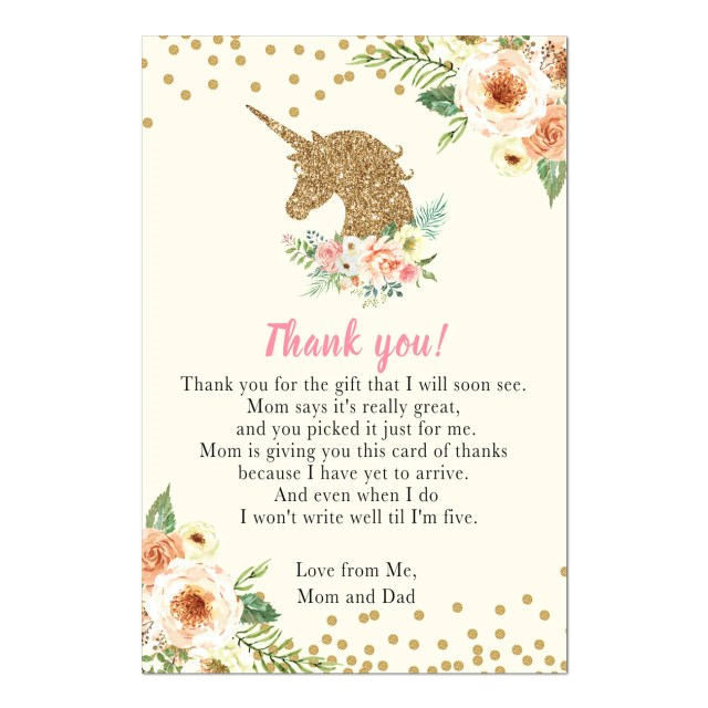 Pink Floral Girl. Personalised Baby Shower Thank You Cards with