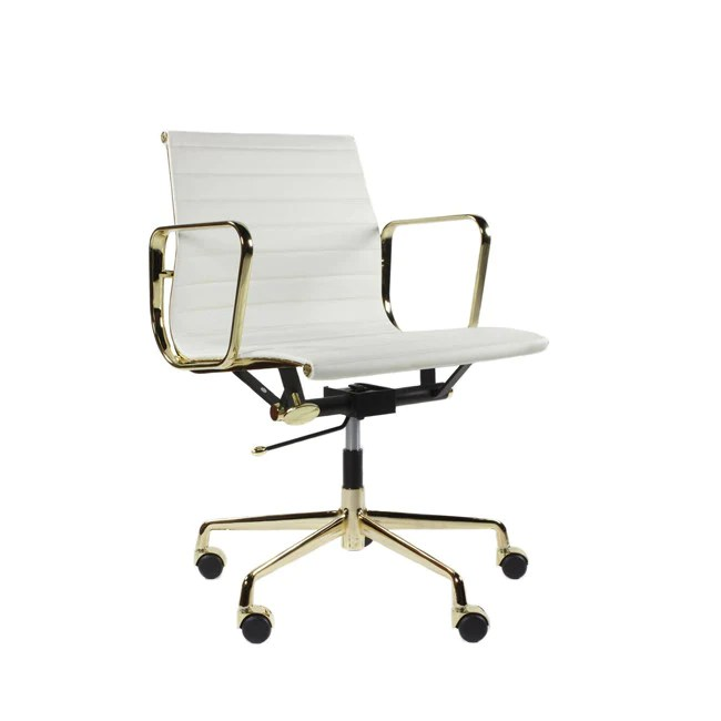 office chair gold cover for classic white leather frame on furniture