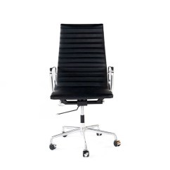 Black Leather Office Chair High Back Hanging Bubble Ikea White On Furniture With Adjustable Height