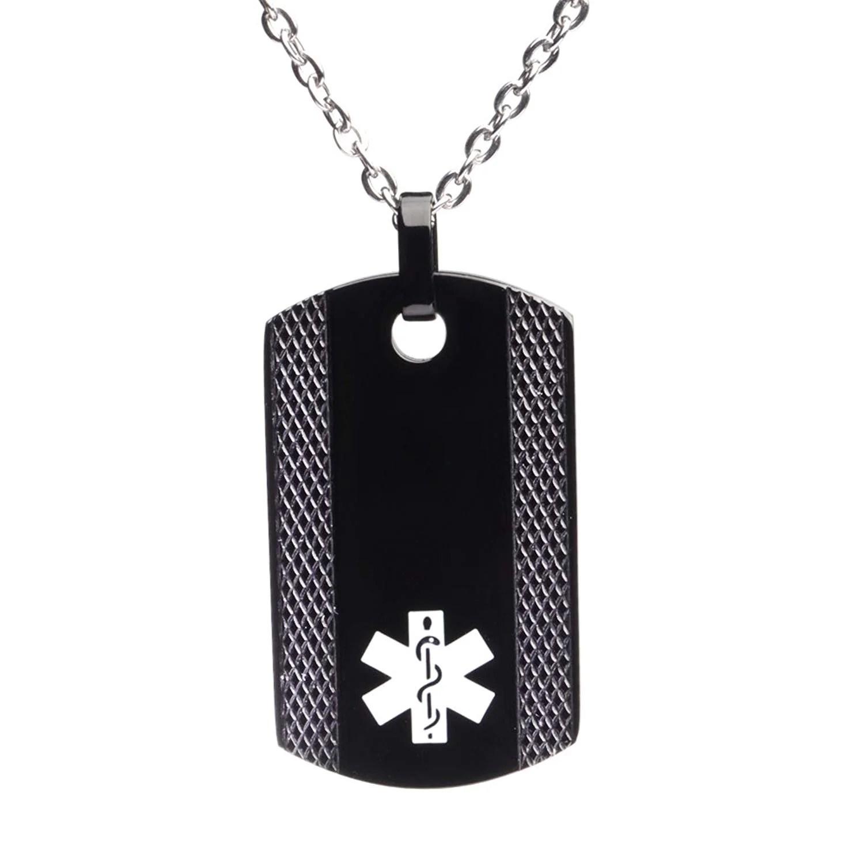 Free Engraving Black Dog Tag Medical ID Necklace for Men ...