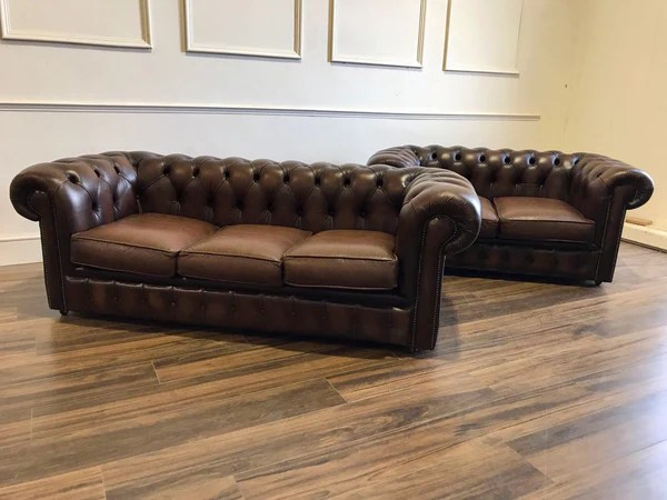 chesterfield sofa london second hand white leather sectional cheap pair of brown sofas robinson england vintage in