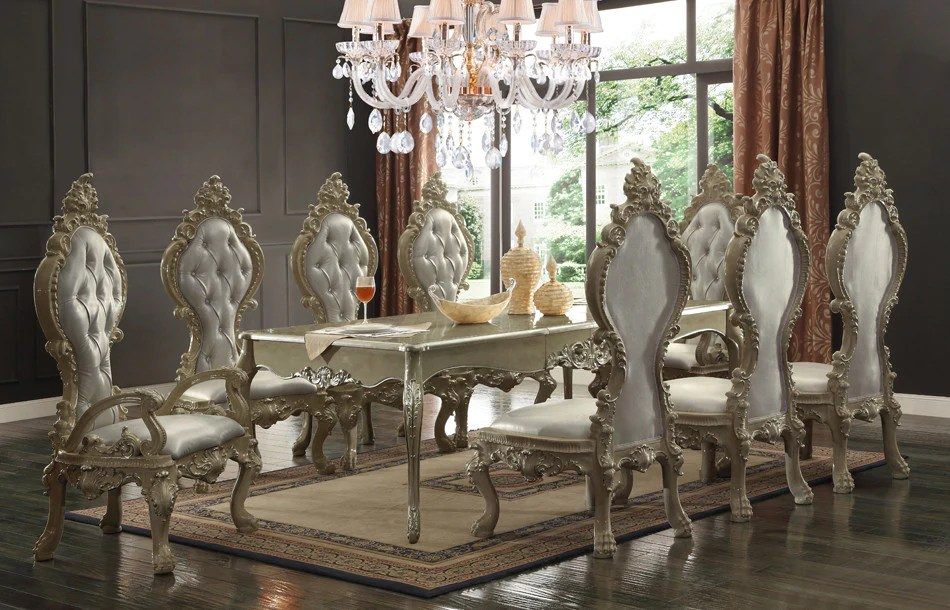 dining table set 6 chairs gravity lowes hd 13012 champagne gold alpha omega furniture