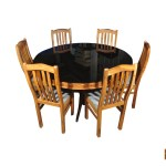 Yamuna Round Solid Teak Wood Dining Set Glass Top Table With 6 Chair Teakpark