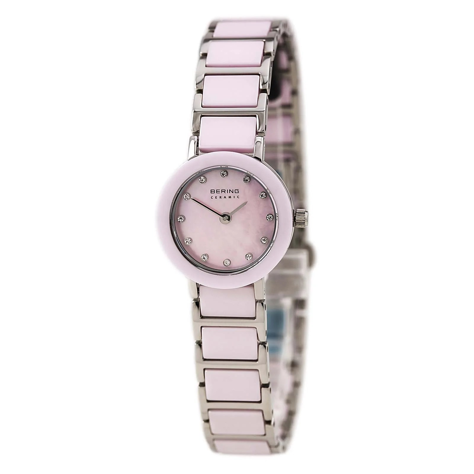 Bering 11422-999 Lady's Ceramic Pink MOP Dial Crystal Watch