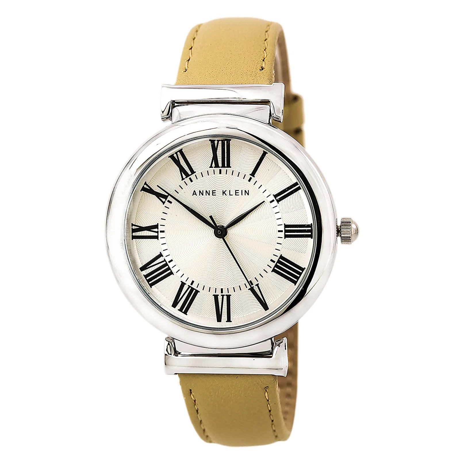 Anne Klein 2137SVTN Women's Silver Dial Beige Leather Band Watch