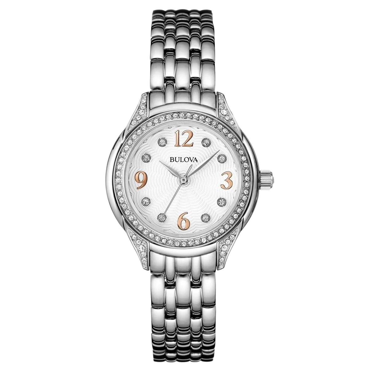 Bulova 96L212 Lady's Crystal White Dial Steel Bracelet Watch