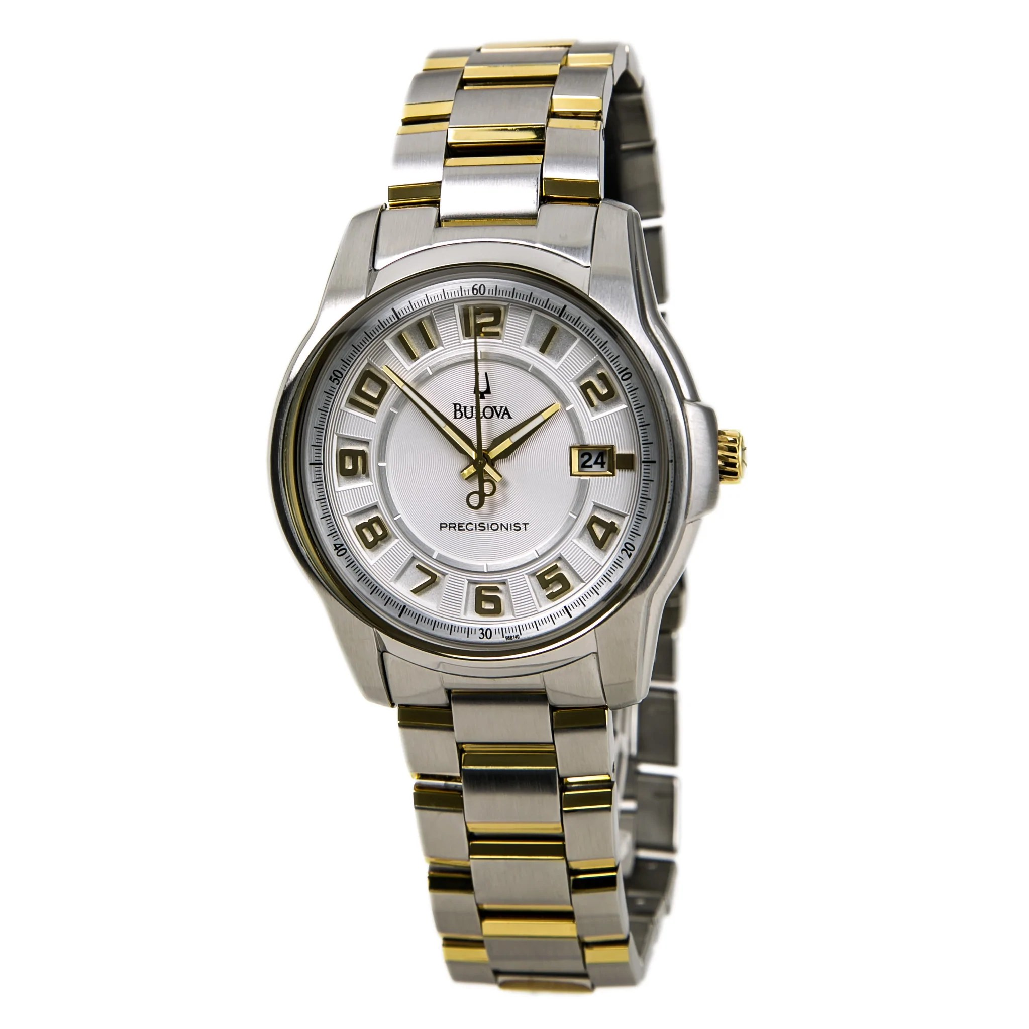 Bulova 98B140 Men's Precisionist Super Accurate Two Tone SS White Dial Watch