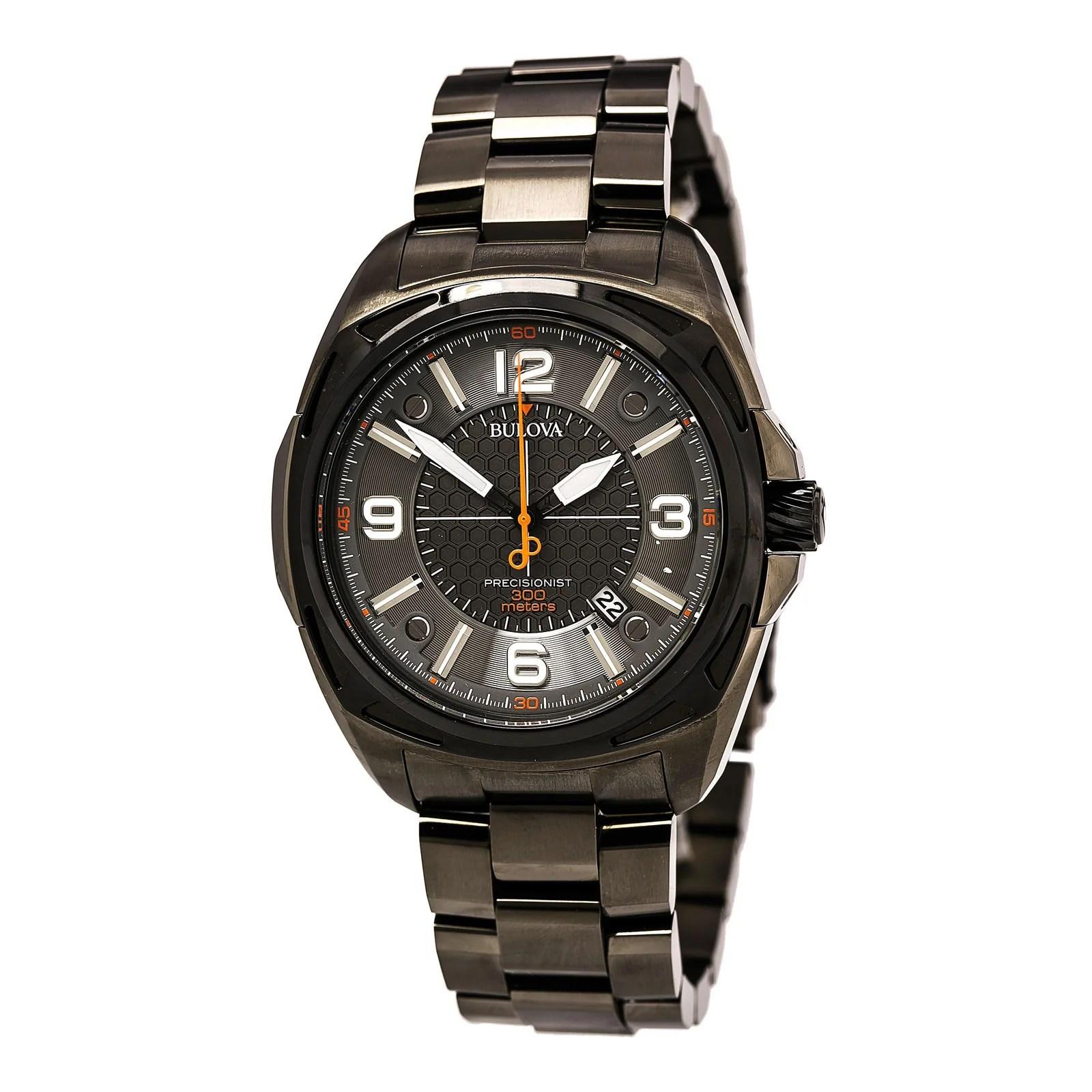 Bulova 98B225 Men's Grey Dial Black IP Steel Bracelet Dive Watch