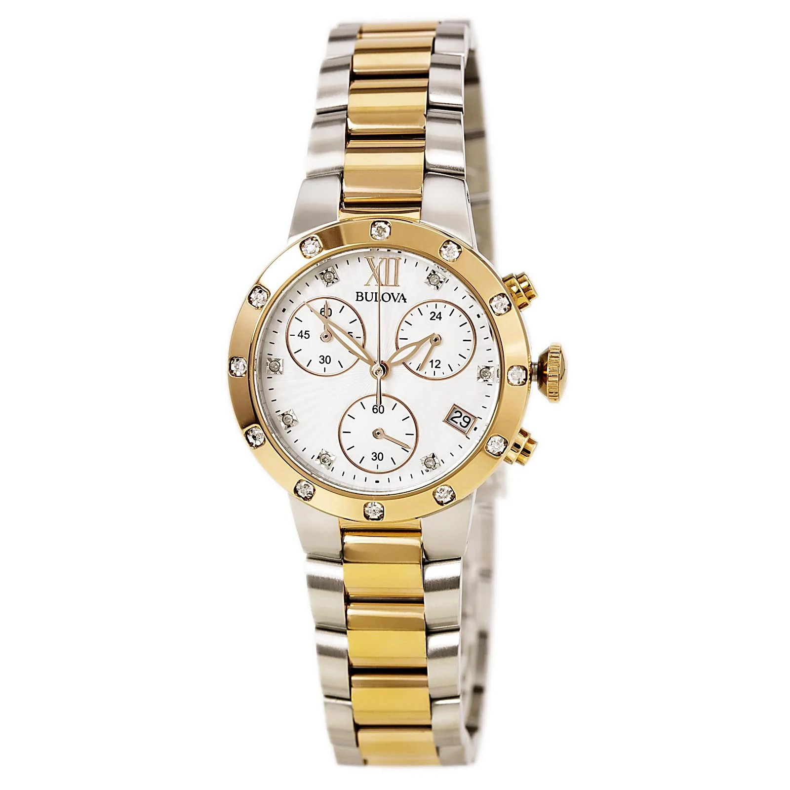 Bulova 98R210 Lady's MOP Dial Two Tone Steel Chrono Diamond Watch