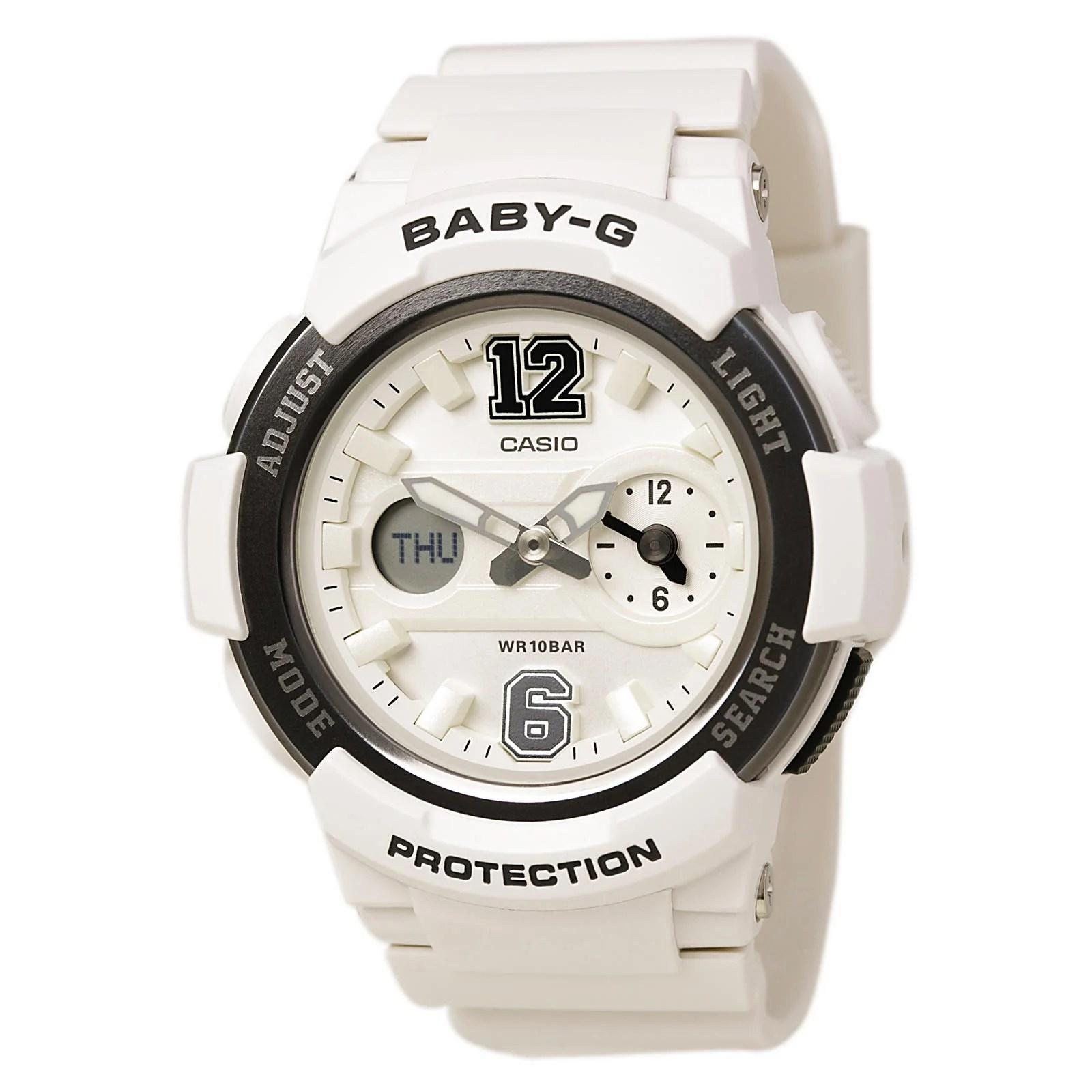 Casio BGA210-7B1 Lady's Ana-Digi White Dial White Band Alarm Watch