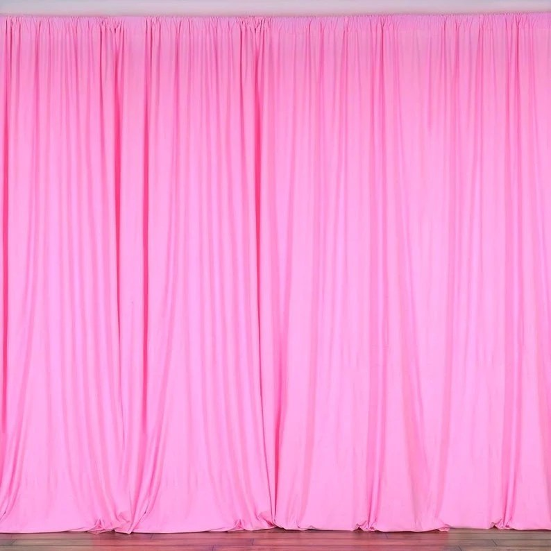 10 x 10 ft hot pink curtain polyester backdrop drapes panels with rod pocket