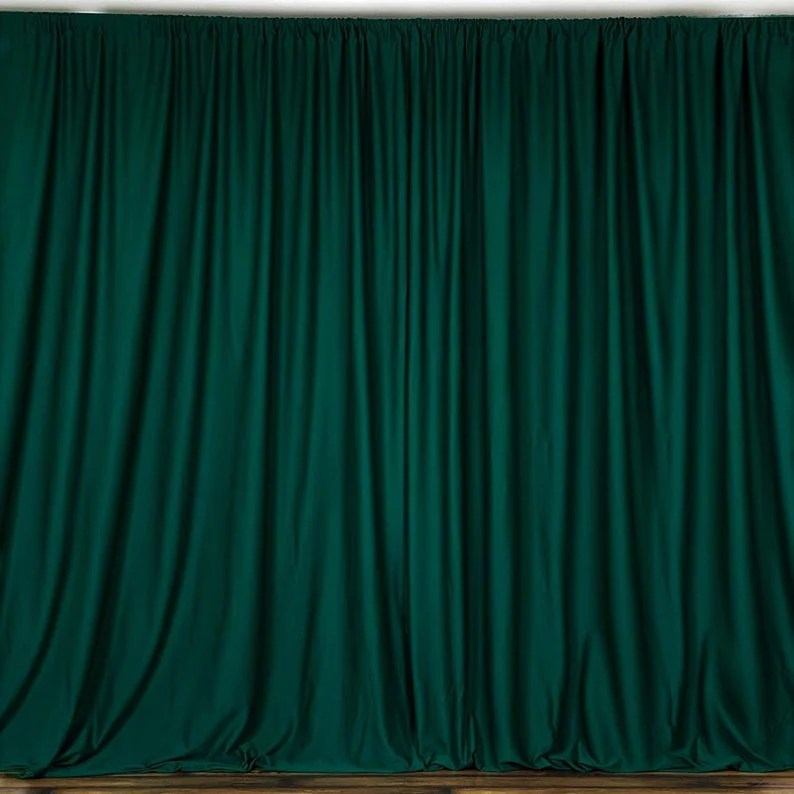 10 x 10 ft hunter green curtain polyester backdrop drapes panels with rod pocket