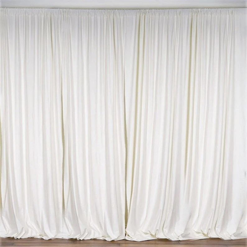10 x 10 ft ivory curtain polyester backdrop drapes panels with rod pocket