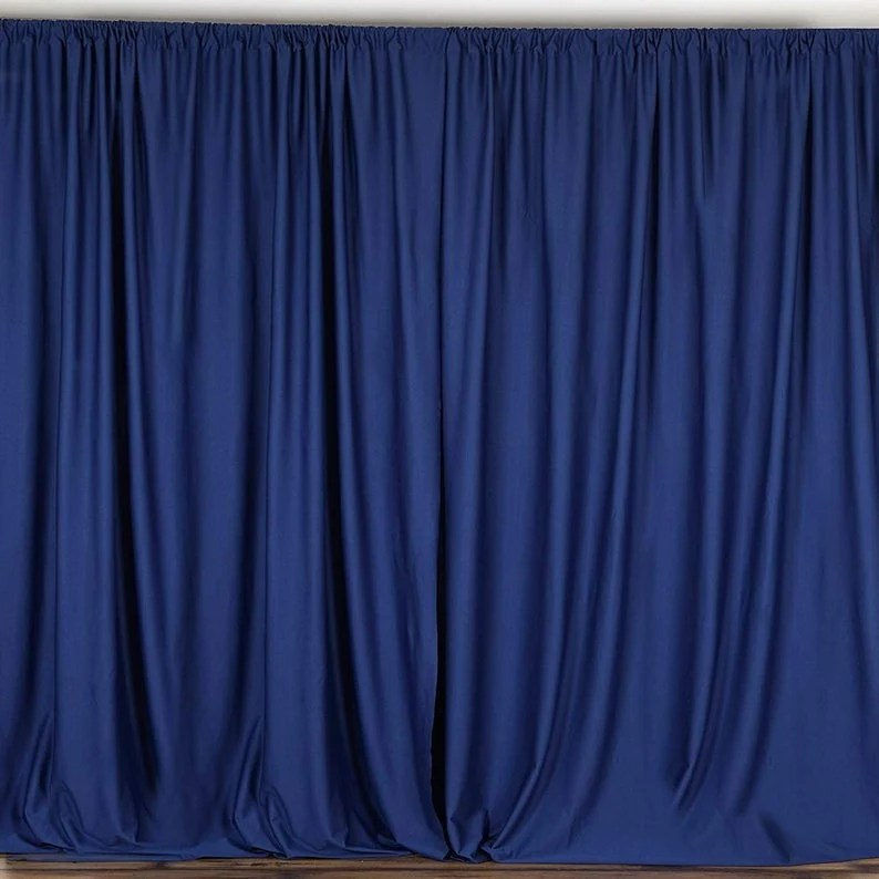 10 x 10 ft navy blue curtain polyester backdrop drapes panels with rod pocket