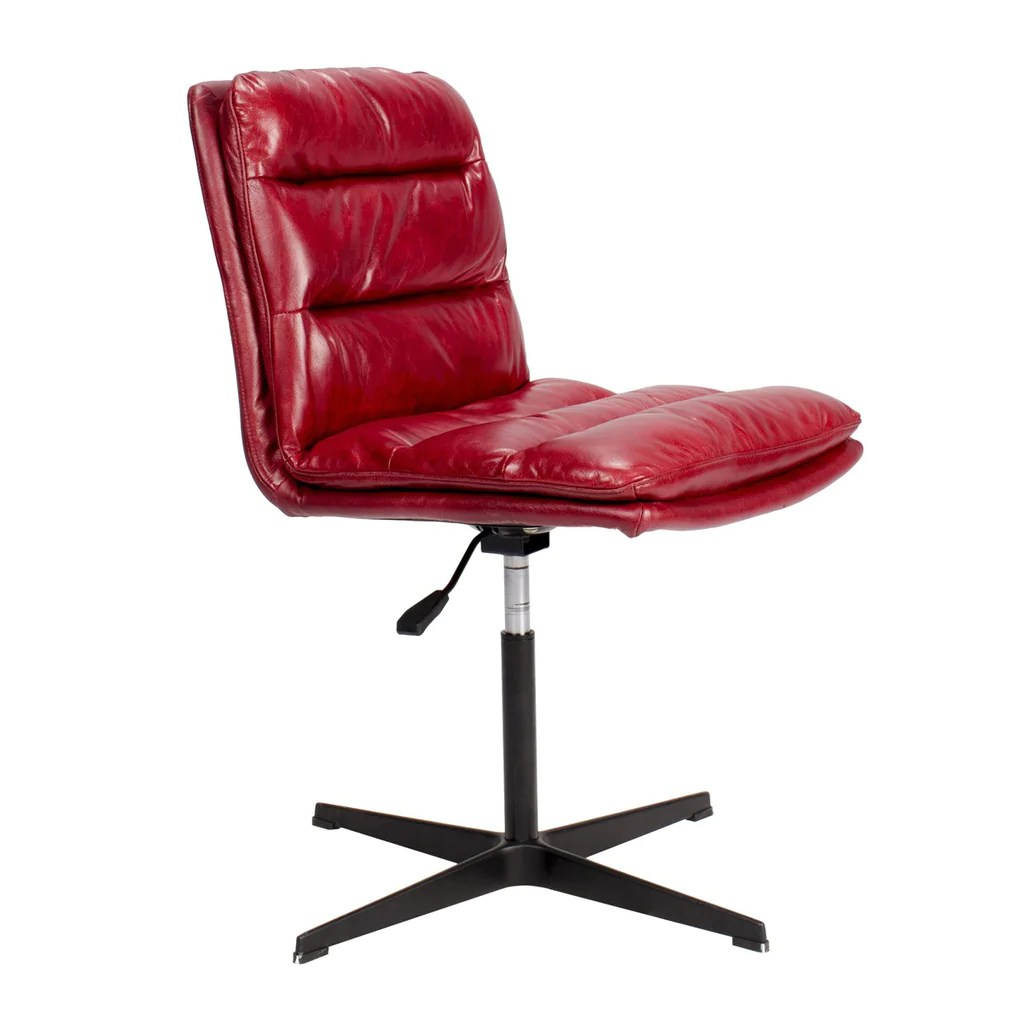 Red Desk Chair Bethae Top Grain Leather Swivel Desk Chair Red