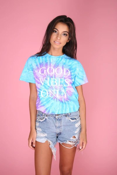 Good Vibes Only Purple and Blue TieDye Graphic Unisex Tee  Era of Artists