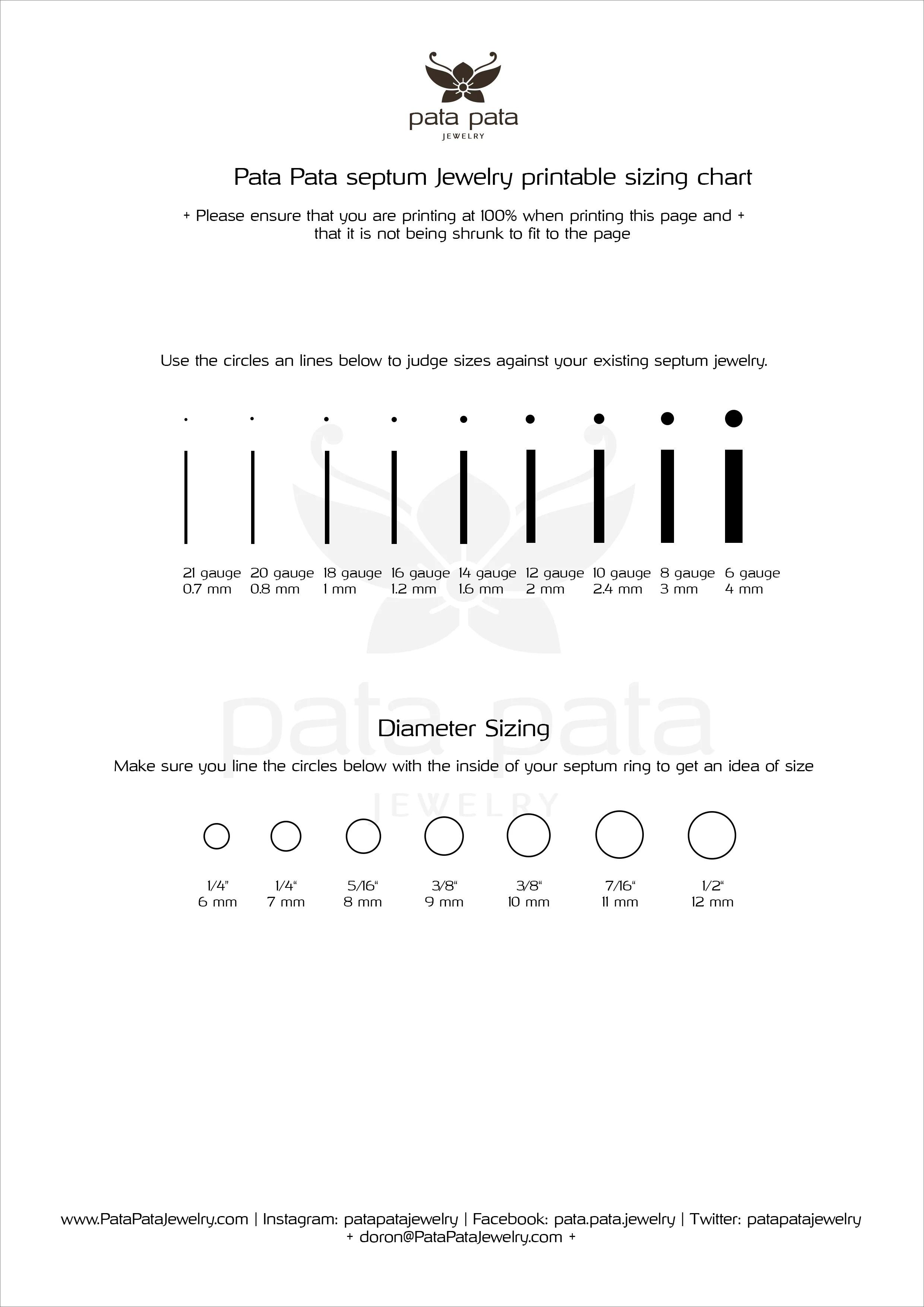 medium resolution of septum piercing wire and diameter sizing chart