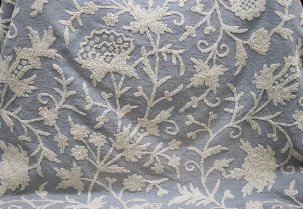 Linen Crewel Embroidered Fabric Floral White On Grey FLR641 Best Of Kashmir