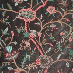 Velvet Crewel Embroidered Fabric Dark Brown Multicolor Cv302 Best Of Kashmir